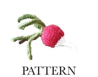 Knitted Radish Knitting Pattern PDF   Amigurumi Vegetable   Play Food Radish