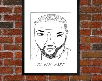 Badly Drawn Kevin Hart - Poster - *** BUY 4, GET A 5th FREE***