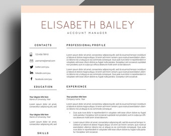Resume Template, Cv Template, Professional Resume Template, Resume Cover  Letter, Curriculum Vitae  Template For Resume Cover Letter