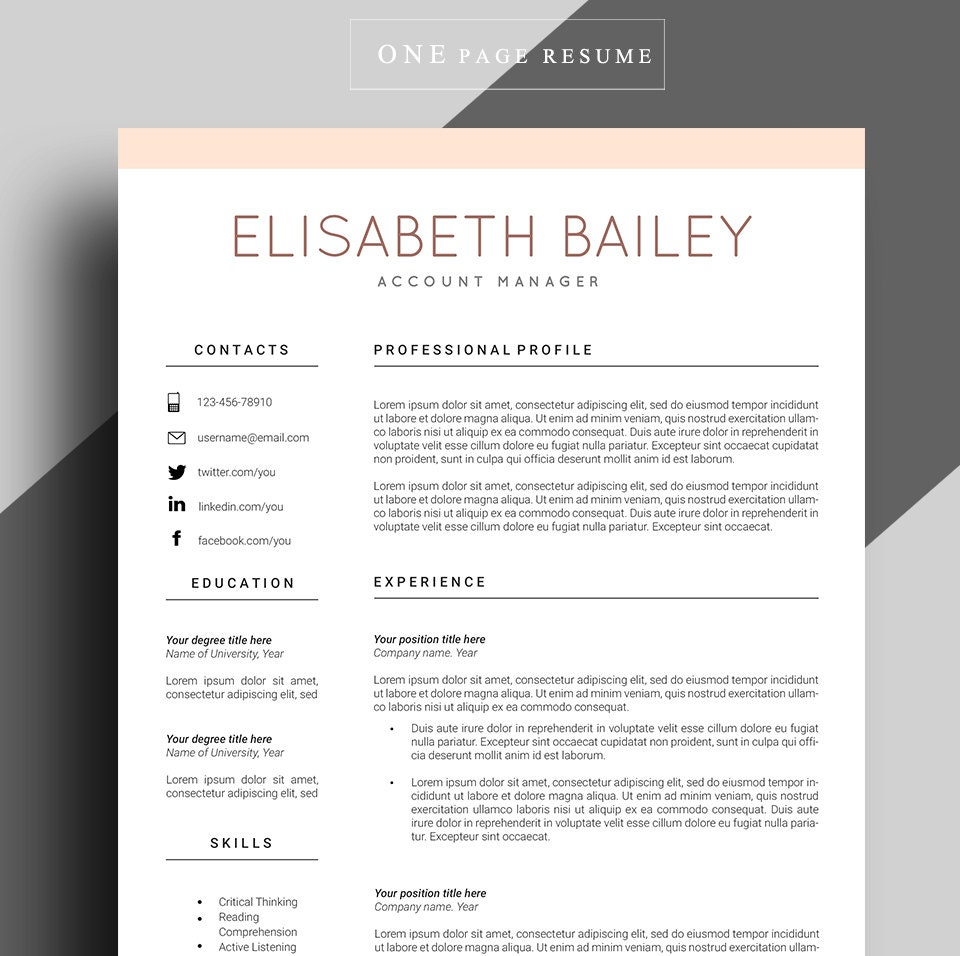 resume template cv template professional resume template. Black Bedroom Furniture Sets. Home Design Ideas