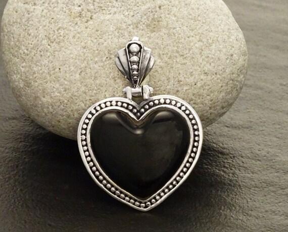 Black Onyx Pendant Gemstone Pendant Sterling Silver