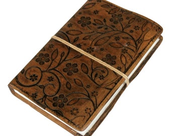Flower Embossed Brown Leather Journal Diary (Handmade paper) W string closure