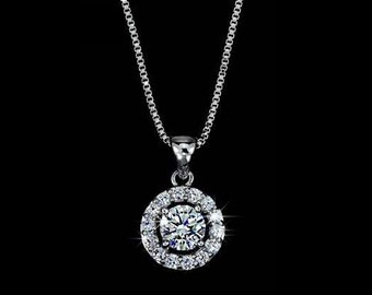 Halo Necklace Cubic Zirconia Round Cut Solitare Pendant Wedding Jewelry Gift