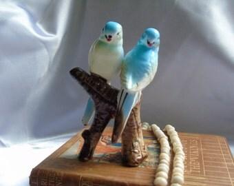 Vintage Love Birds sitting on branch figurine