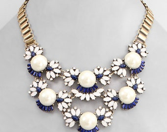 Navy & Opal Bead with Pearl Statement Necklace