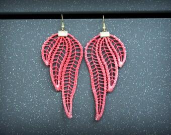 Elegant Lace Earrings Indian Red Earrings Fashion Earrings Original Gift for Her Women Accessory Dangle Earrings Wedding Bridal Earrings