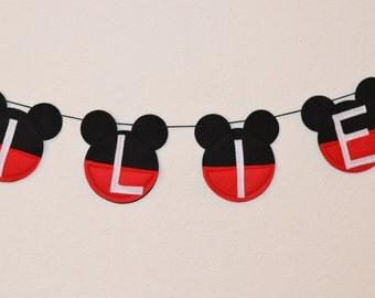 Mickey Mouse banner, Micke Mouse Banner, Mickey Mouse, Mickey Mouse garland, Felt Mickey, Felt banner, Felt garland, mickey banner