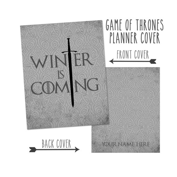 Personalized Planner Cover: Game of Thrones - Winter is Coming Cover only or Cover Set - Many Planner Sizes Available!