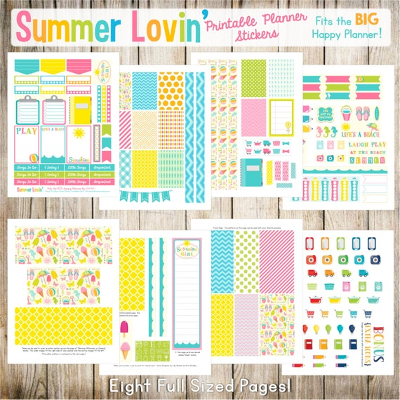 Summer Lovin' - Fits The BIG Happy Planner (8.5 x 11)!  Printable Planner Stickers - 8 Full Pages!