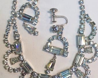 Rhinestone Choker Necklace and Screw Back Dangle Drop Earring Set Vintage