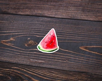 "Watercolor Watermelon - Pack Of 3 - 4"" Tall - Personalized Sticker - Die Cut"