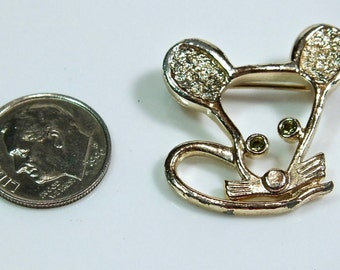 "Vintage Sarah Coventry Gold Tone ""Minnie""Mouse Face Rhinestone Eyes Brooch Pin"