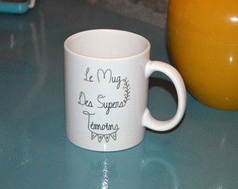 The mug of super special Mug Black marriage and taupe gray witnesses customizable gift