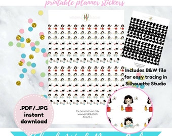 Item #0125-1 Printable Black Haired Girl Cute College/Work Life Diary Stickers Set (perfect for planners)