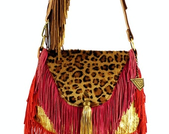 Valeria Handbag With Fringes, A combination of Art and Long Fringes ! Handpainted by Carolina. FREE SHIPPING !
