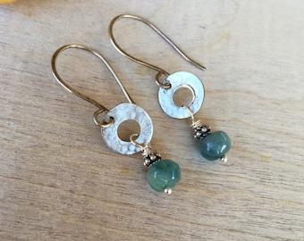 Sterling silver earrings Quartz earrings  Dangle earrings  Boho earrings Bohemian earrings Handmade earrings (#13)