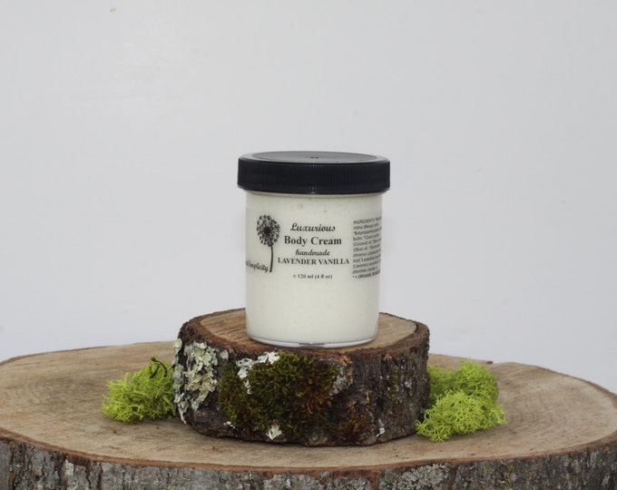 Body Cream, Lavender and Vanilla  ORGANIC Ingredients with Mango Butter