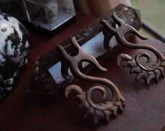 Bohemian Wooden Carved Gauge Earrings