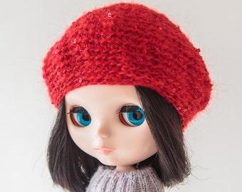 Blythe hat blythe red Beret сrochet mohair Beret for blythe doll blythe outfit doll soft cozy blythe red beret blythe fashion blythe clothes