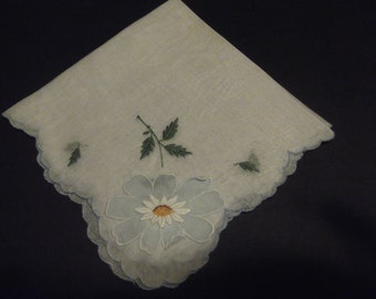 Vintage Blue Daisy Shear Hankie with Delicate Pink Floral Design Estate Sale Shabby Chic 1960's