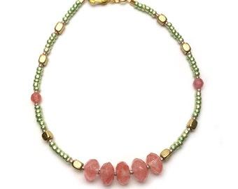 Strawberry Quartz Beaded Bracelet