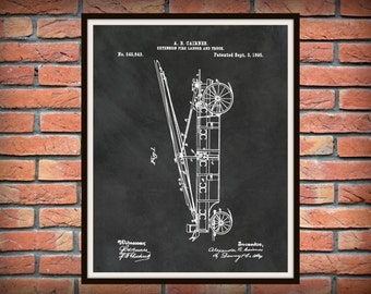Patent 1895 Fire Extension Ladder and Truck #1 - Art Print - Poster - Fire House Art - Fire Fighter - Fire Rescue Art - Fire Truck Equipment