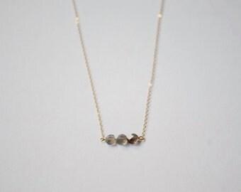 Labradorite Necklace - Gold Bar Gemstone Necklace - Three Stone Necklace - Gold Fill Necklace - Moonstone Necklace - Dainty Necklace