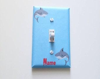 Shark Light Switch Plate, Shark Wall Decor, Shark Room Decor, Boys Room, Shark Nursery, Baby Boy Nursery, Shark Decor, Shark Week