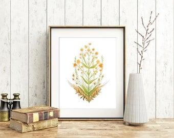 Sundance - Floral Art Print, Watercolor Printable Digital Download Botanical Art, 8x10 Wall Art Decor
