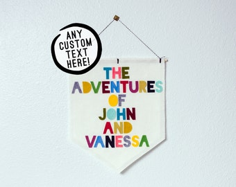 CUSTOMIZABLE EXTRA LARGE wall hanging / banner -- custom text // nursery banner, custom wall banner, custom wall decor, personalized gift