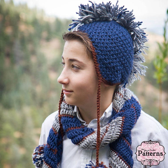 Hat Scarf Pattern Crochet Mohawk Hat And Asymmetrical Chevron
