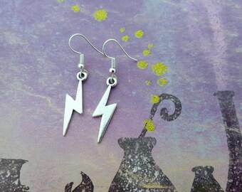 Lightning Bolt Earrings, Storm Jewellery, Silver Earrings, Thunder Jewelry, Weather Jewelry, Nature Earrings, Lightning Strike Charms, Gift