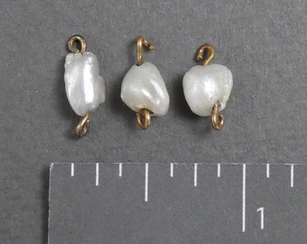 3 Old Natural Pearls with wires/not gold