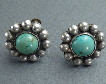 Turquoise and silver screw back earrings