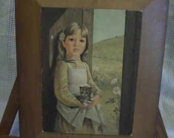 Vintage print Little Girl with Cat on wood 1979