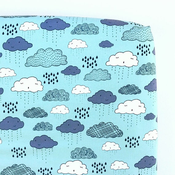 Crib Sheet >> Greatest Adventure Clouds in Aqua >> Fitted Crib Sheet >> Baby Toddler Bedding >> ready-to-ship