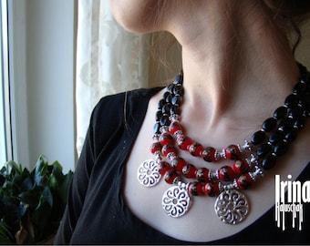 Multistrand glass beads necklace Folk Ukrainian necklace Venetian beads necklace Svarga pendant necklace Red and black glass beads necklace