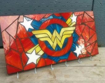 Wonder Woman Glass Mosaic Key Hook Rack