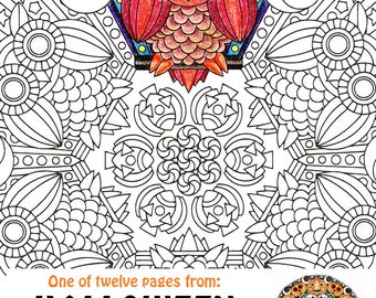 Halloween Mandala Coloring Page - Mr Mooneye - printable Halloween coloring page - adult coloring pages, owl