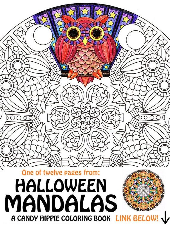 Items similar to Halloween Mandala Coloring Page Mr Mooneye