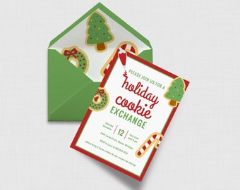 "Holiday Cookie Exchange Christmas Party 5"" x 7"" Invitation - Digital or Printed"