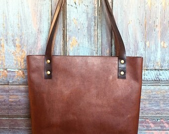 Ready to Ship - Brown Horween Leather Tote - Leather Tote, Leather Bag