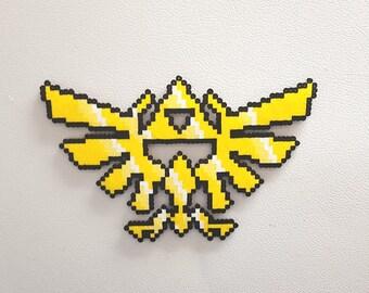 Legend of Zelda Perler Hylian Crest, perler beads art, LoZ, Link, Princess Zelda, Hyrule, Ocarina of Time, Link to the Past
