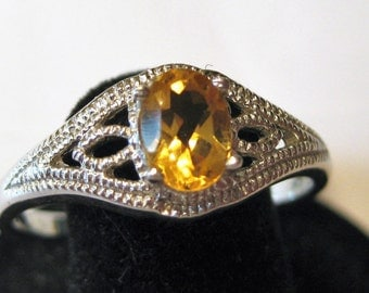 Citrine (7x5mm) Faceted Gemstone Sterling Silver Ring Size 12, Item #1064.