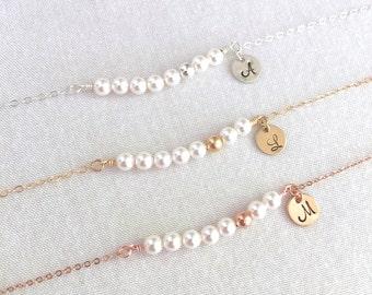 Personalized Pearl Bracelet, Bridesmaid Bracelet, Rose Gold Bead, Gold Bead, Silver Bead, Flower Girl, Little Girl Gift, Bridesmaid Gift