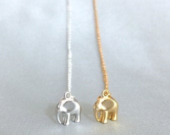 Tiny Elephant Necklace, Sterling Silver, Gold Fill, Dainty Necklace, Silver Elephant, Gold Elephant, Lucky Elephant, Bridesmaid Gift