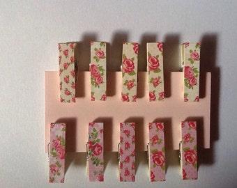 Decorative Clothes Pins.  Scrapbooking Supply.  Craft Supply.  Floral Clothes Pins.  Shabby Chic Clothes Pins