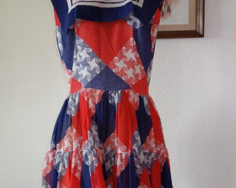 1950s red white and blue dress - picnic dress - patriotic - vintage
