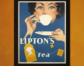 Lipton's Tea Poster - Food Poster Kitchen Decor Vintage Poster Kitchen Home Decor Wall Decor Food Prints  t