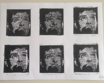 Lino print of the singer Ian Curtis from joy division